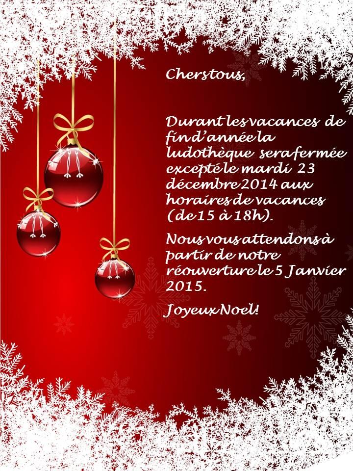 affiche fermeture vacances noel 2014