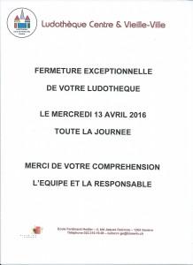 20160413_Fermeture exceptionnelle 13 avril CVV